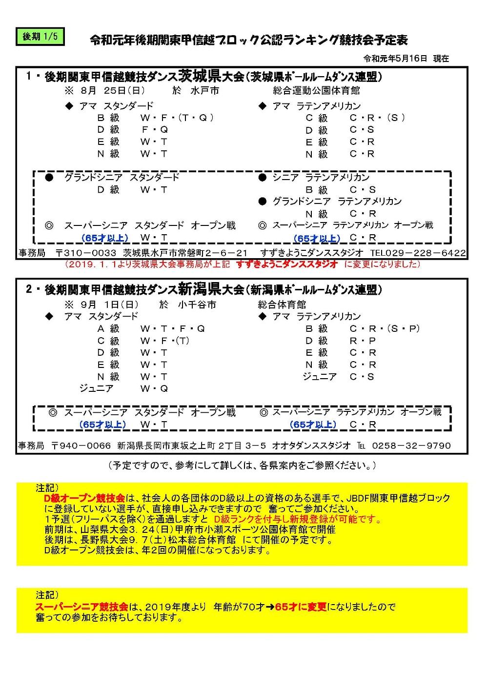 JBDF関東甲信越ブロック 競技会 2019年 後期