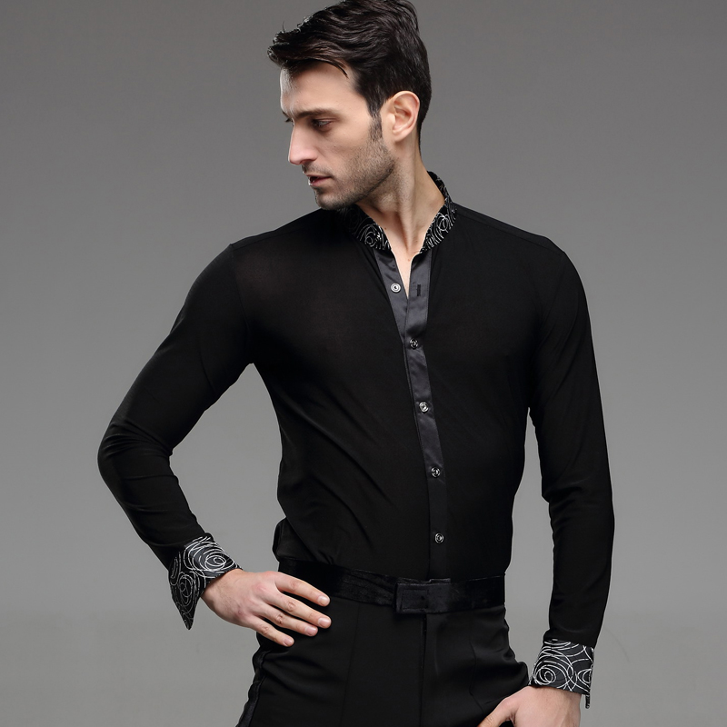 new-male-adult-Latin-dance-SHIRT-MENS-shirts-Latin-training-clothes-modern-dance-Rumba-cha-cha