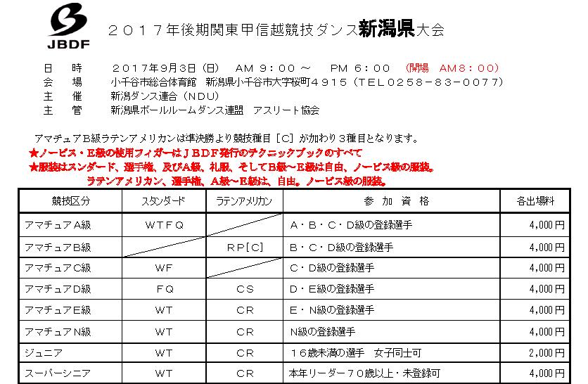 2017年後期JBDF関東甲信越競技ダンス「新潟県大会」